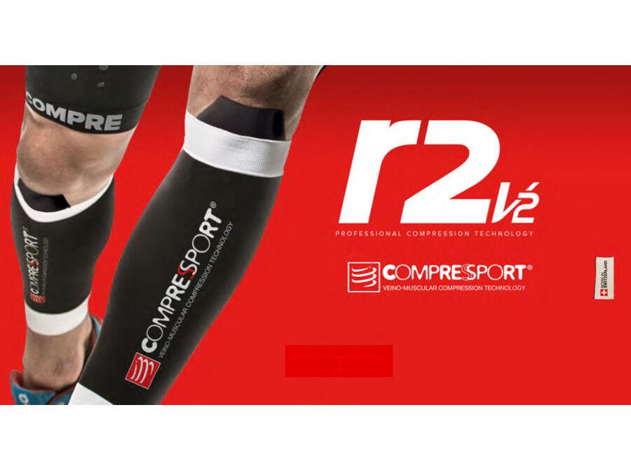 Perneras de compresión COMPRESSPORT R2 V2 -medias negras