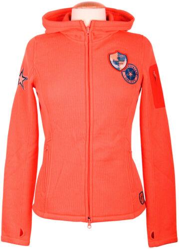 Fleece mit Kapuze Gr.XS Orange NEU Sportliche  Fleece Jacke Disco aus Jacquard