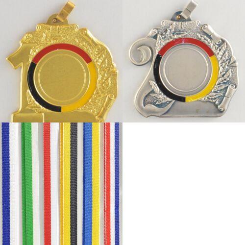 bronzefarben Reste Schwere Medaillen Metall 70mm incl 25mm Emblem silber
