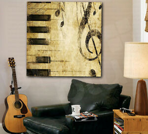 Music Notes Piano Keys Treble Clef Canvas Art Poster Print Home ...