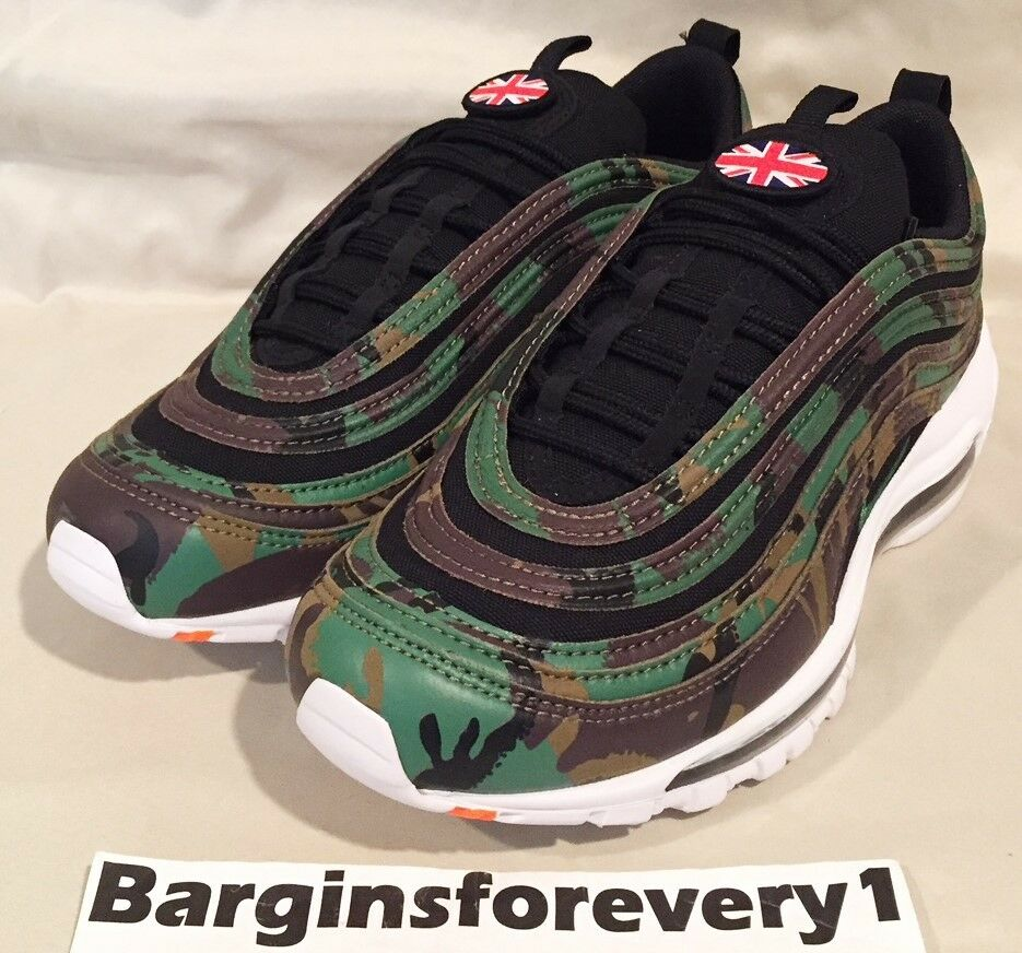 New Nike Air Max 97 Premium QS  UK Camo  - Size 11 - Green Black - AJ2614-201