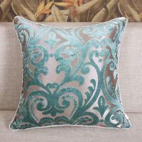 Luxurious Blue Floral Cut Velvet Throw Pillow Case Cushion Cover Pillow Sham