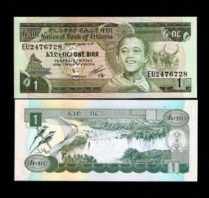 P 42a  LOT 2 PCS  Uncirculated Banknotes 5 BIRR  1991 Prefix FJ ETHIOPIA