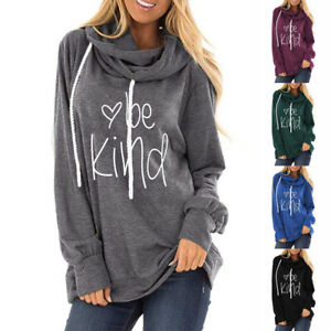Women-039-s-Be-Kind-Printed-Hoodies-Sweatshirt-Long-Sleeve-Casual-Pullover-Tops-Coat