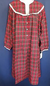 New-Lanz-of-Salzburg-Cotton-Flannel-Red-Granny-Nightgown-M-White-Eyelet-Lace