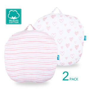 Newborn-Lounger-Pillow-Cover-100-Cotton-Stretchy-Removable-Slipcover-2-Pack