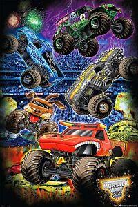 Monster-Jam-Stadium-Cartoon-POSTER-61x91cm-NEW-monster-trucks