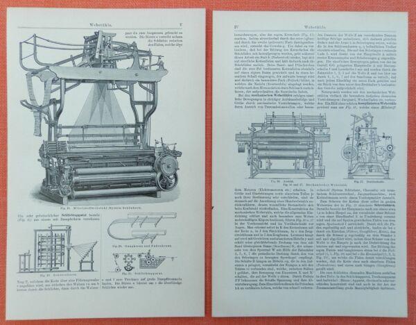 Webstühle Webstuhl Gaze Weber Holzstich Von 1897 HüBsch Und Bunt