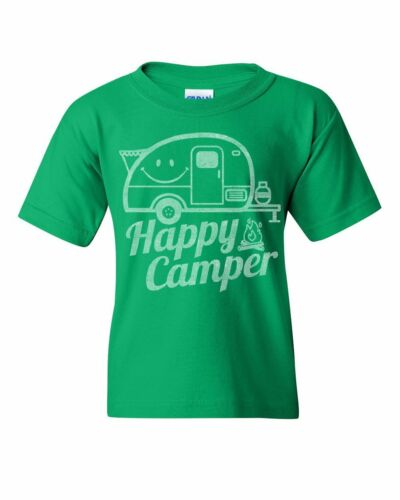 Happy Camper Youth T-Shirt RV Tourism Camping Summer Nature Travel Kids Tee