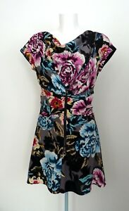 TED-BAKER-Pure-Silk-Floral-Ruched-Zip-Corset-Skater-A-Line-Dress-Size-1-UK-8-New