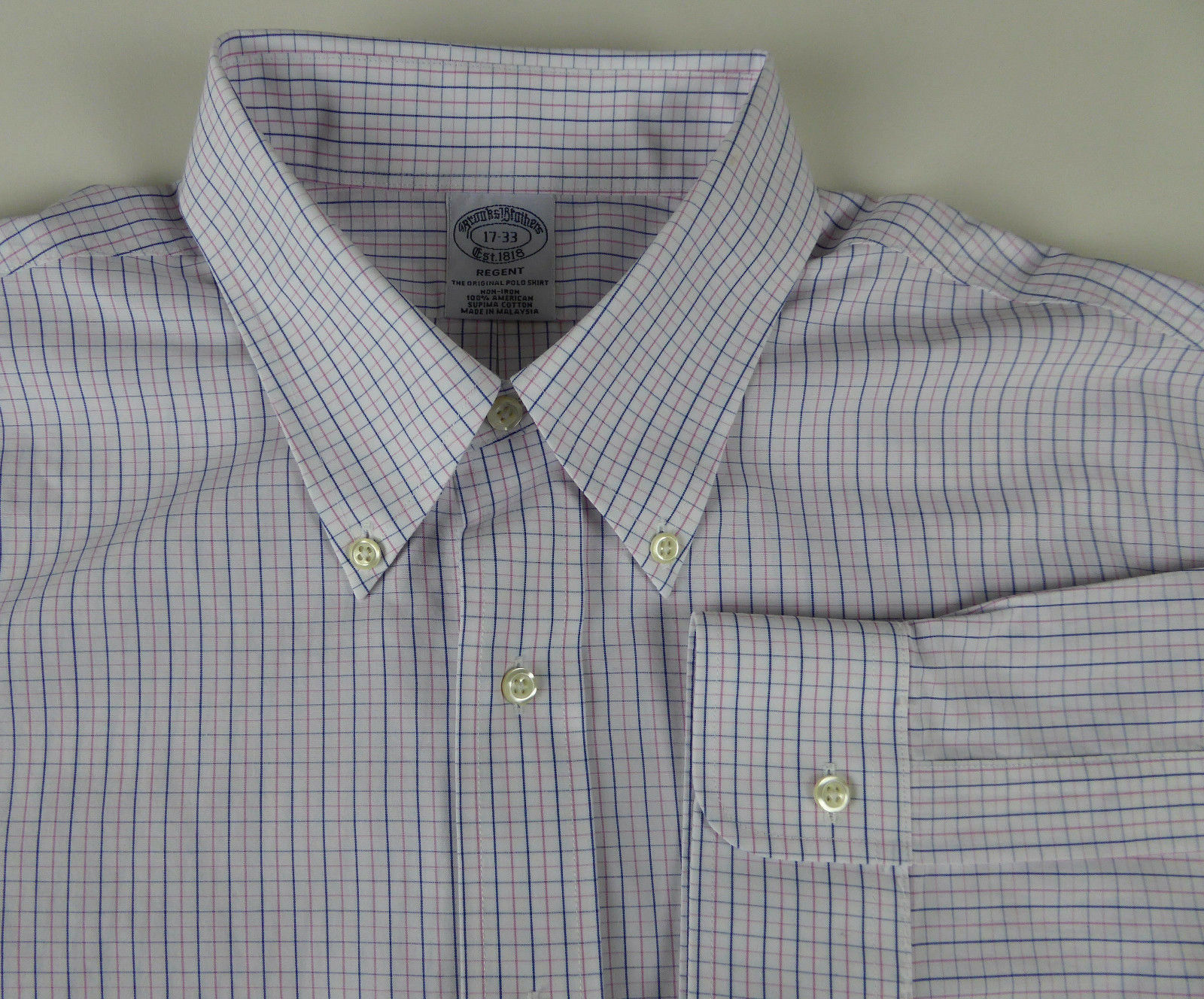 Brooks Bredhers Regent Supima Non Iron Cotton Windowpane Dress Shirt NWT