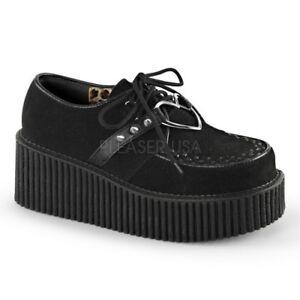 Demonia-CREEPER-206-Black-Platform-Heart-Rockabilly-Goth-Spikes-Oxford-Shoes