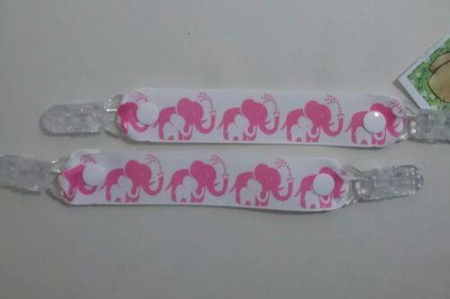 MITTEN CLIPS glove savers pink elephants /& baby white elephant girl boy kids