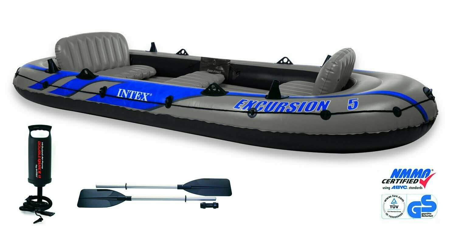 2019 Model Intex Excursion 5 Man Inflatable Dinghy Boat +Oars +Pump