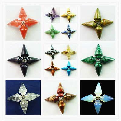 4 pcs Beautiful Mixed Gemstone Pendulum pendant bead HH-2