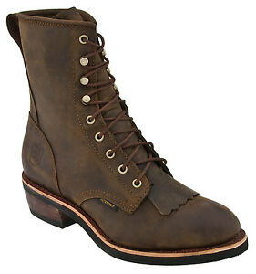 DAN-POST-Brown-Packer-Kiltie-WATERPROOF-Lace-Up-Leather-Roper-Boots-DP69571-NIB