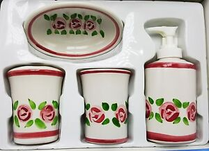 Rose-Floral-Bath-Set-Lotion-Soap-Pump-Dispenser-Cup-Toothbrush-Holder-4pc-New