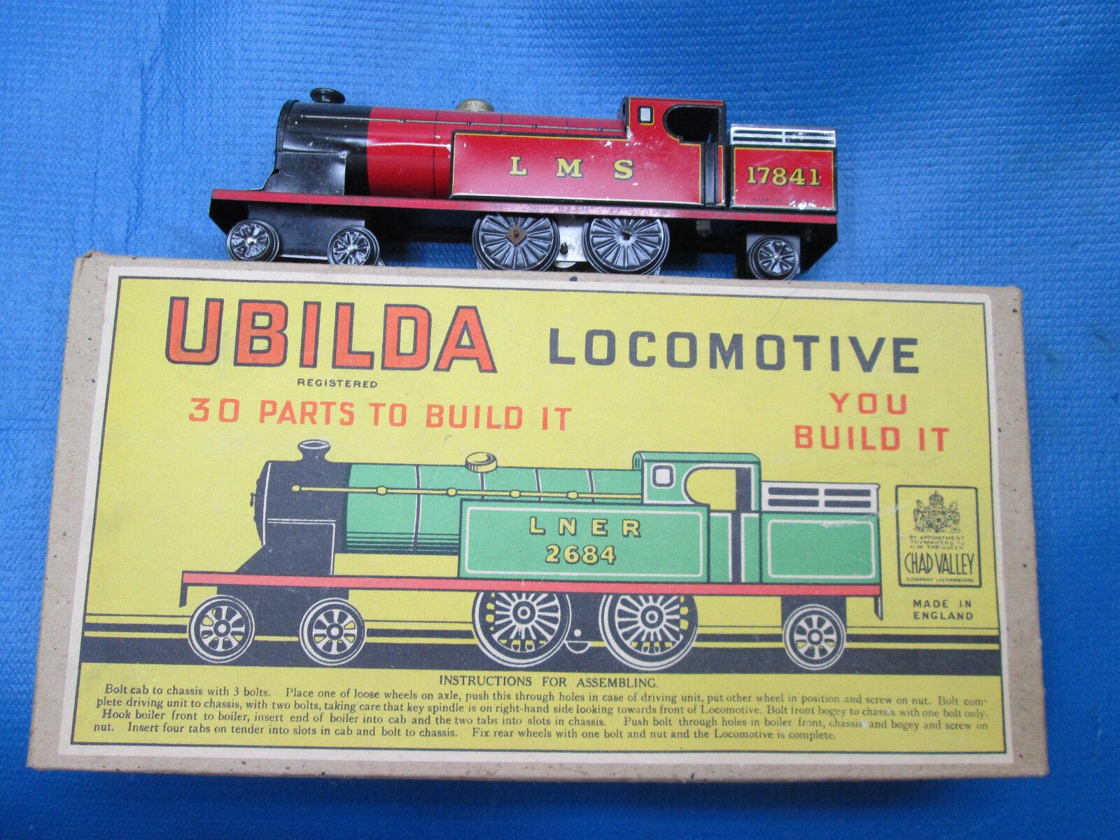 Vintage Chad Valley ubilda Locomotora Tren De Cuerda Kit en caja década de 1950 muy cool