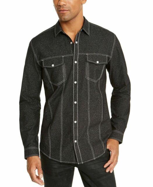 INC Mens Shirt Black Size Medium M Button Snap Shimmer Dual Pocket $65 #315