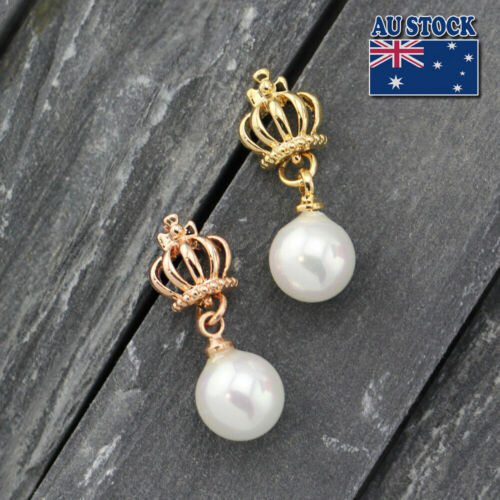 Elegant 18K Rose Gold //GOLD Filled Pearl Drop Dangle Vintage Crown Stud Earrings