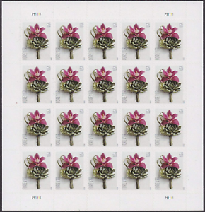 2020 USPS US Postage Stamps 5 Panes 100 Pcs of Contemporary Boutonniere