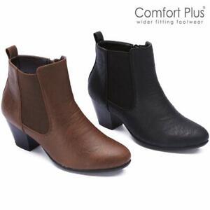 Ladies Wide Fit Boots Women Block High