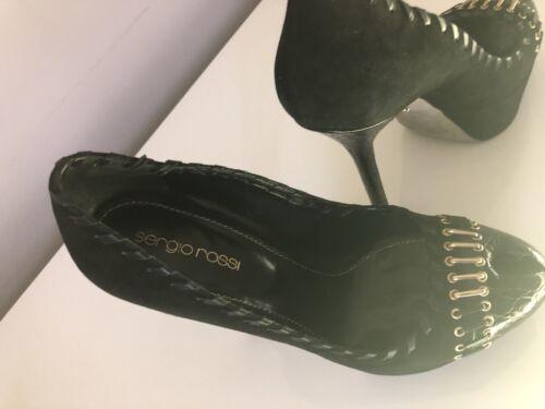 3 con e con camoscio Rossi dorate plateau Sergio aperta pelle 36 punta rifiniture in nero in scarpa YSavBwwyIq