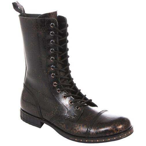 Stiefel & Braces 12-Loch Stiefel Steampunk Gear-Gothic-Stiefel-Leder-WGT