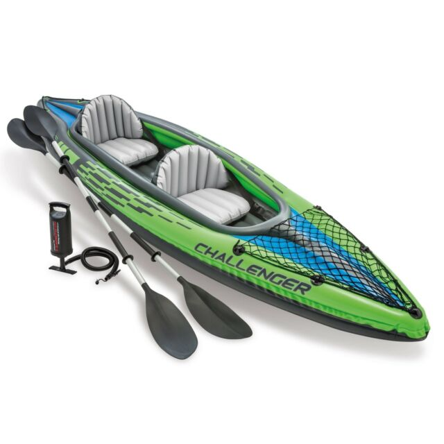 Inflatable Kayak Intex 2 Person Green/Blue Summer Water Sport Boating Accessory