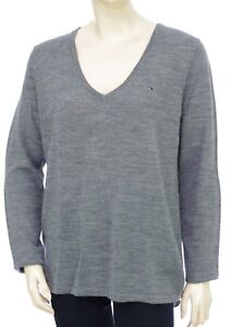 db2c6ac47a133 TOMMY HILFIGER pull tunique col V gris femme Pure laine BASIC DEEP ...