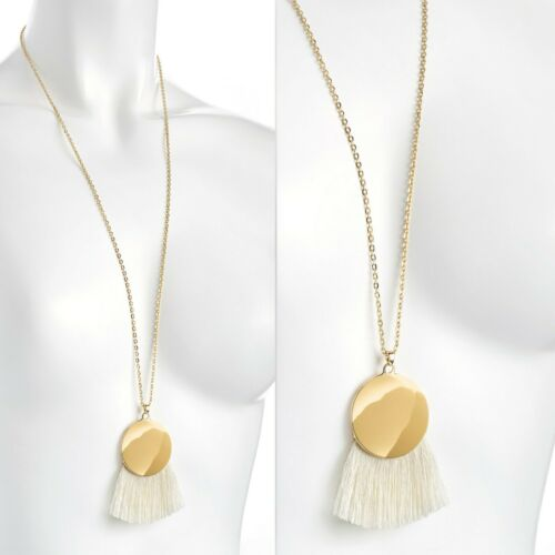 Round disc with white cotton tassel gold colour chain long necklace jewellery