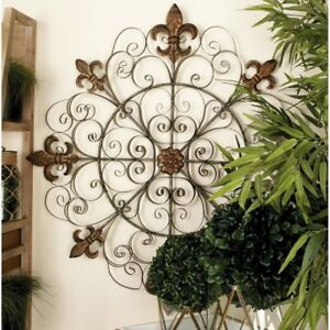 Details About Metal Wall Fleur De Lis Medallion Antique Hang Decor Vintage Outdoor Indoor Art