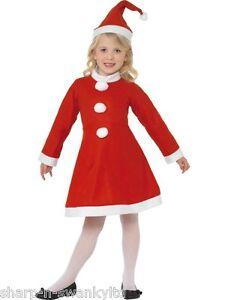 Kids Girls Mrs Santa Claus Father Christmas Xmas Fancy Dress Costume