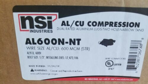 Narrow Tang Details about  /Nsi AL600N-NT Aluminum Lugs-Two Hole