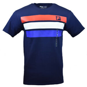 FILA-Men-039-s-T-shirt-S-M-L-XL-2XL-Athletic-Sports-Red-White-Blue-Stripes-NAVY-NEW