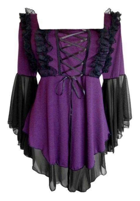 Plus Größe lila schwarz Gothic Renaissance Fairy Tale Corset Top 1X 2X 3X 4X 5X
