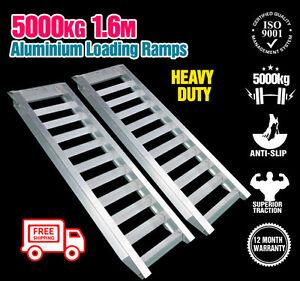 Aluminium-Loading-Ramps-Pair-5T-5000KG-1-6M-Construction-Excavator-Bobcat-Ramp