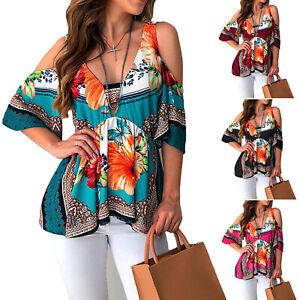 Women-Boho-Floral-Cold-Shoulder-Top-Summer-Beach-Baggy-V-Neck-Blouse-T-Shirt-Tee
