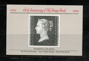 A428-Marshall-Islands-1990-Penny-Black-COMPLETE-BOOKLET-pane-amp-sheet-MNH