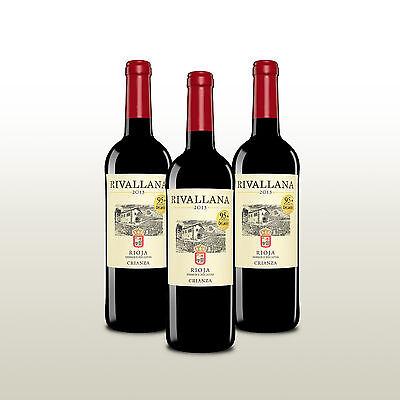 3 Fl. Rivallana Crianza 2013 Rioja, Tempranillo, Rotwein trocken, 95 Decanter P!