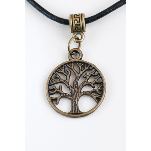 Antique Bronze Charm Pendant with Real Black Leather Cord Necklace