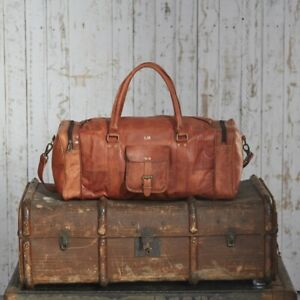 New-Men-039-s-Adult-Genuine-Leather-Vintage-Duffel-Overnight-Travel-Luggage-Gym-Bag