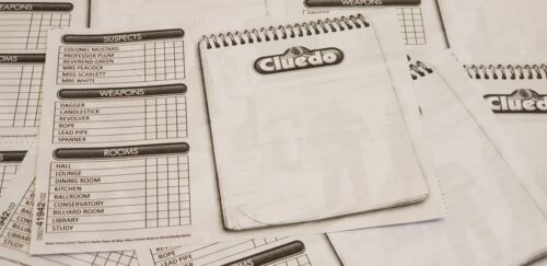 Charcoal Cluedo Detective Notebook Spare Sheets 2 Sheets = 16 Cards