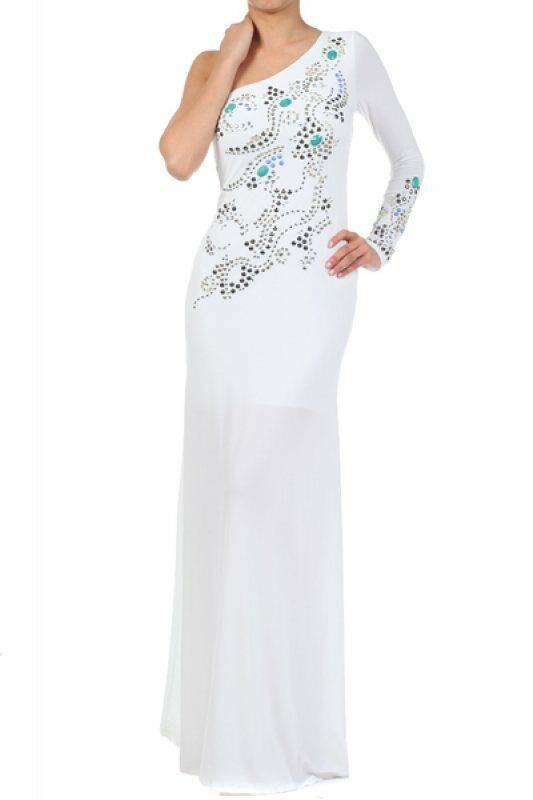 Women's Ladies White Full Length Embellished Long Single Sleeve Dress S, M, L