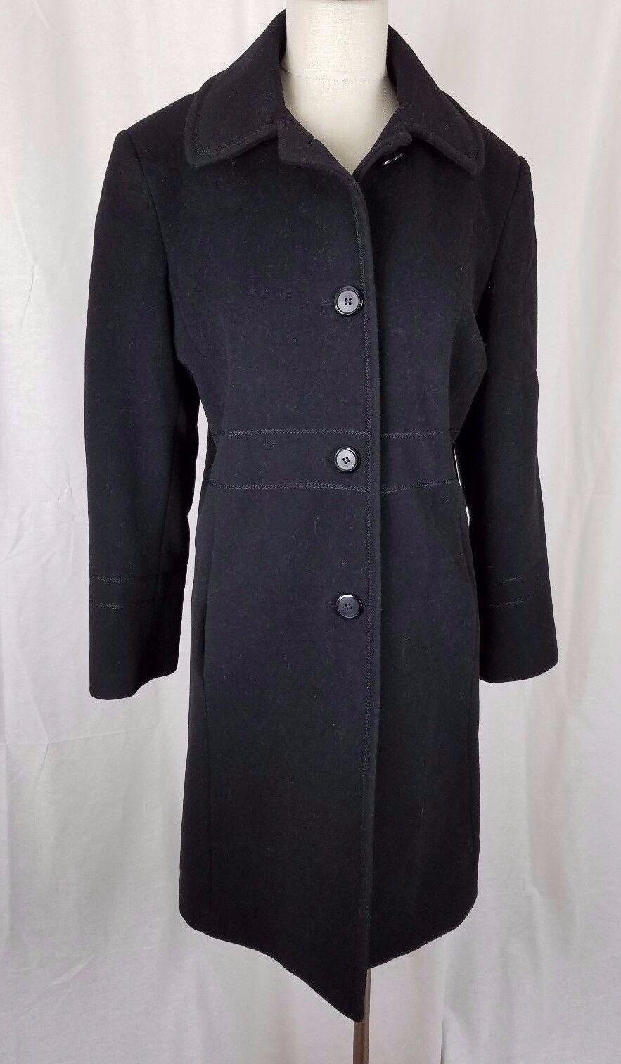 Vintage Jg Haken Winter Wolle Kaschmir Exposed Nähte Mantel Damen 12 Schwarz