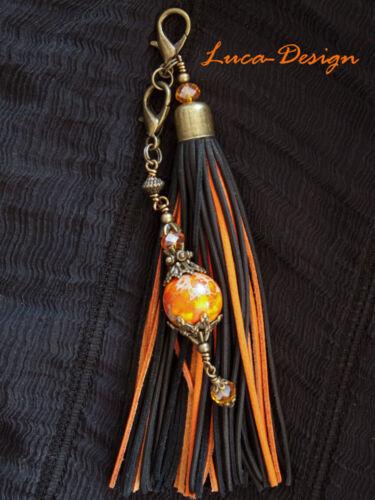 Lederquaste jaspis or Taschenanhänger Windhundhalsband Tasche Anhänger tassel