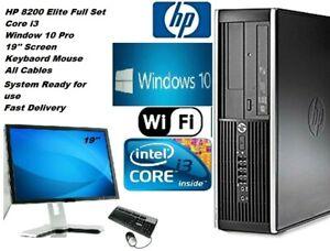 Rapido-HP-8200-Core-i3-Pc-Computadora-des-Win-10-Pro-19-034-Monitor-Set-Completo-Con-Cables