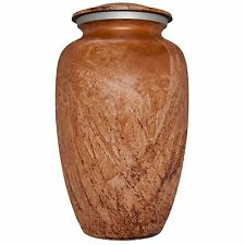 ADULT BROWN CREMATION URN, LARGE NEW FUNERAL URN FOR HUMAN ASHES