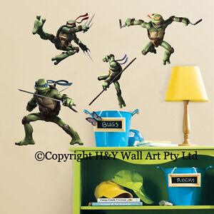 Image is loading TMNT-Ninja-Turtles-Kids-Wall-Stickers-Boys-Decal-  sc 1 st  eBay & TMNT Ninja Turtles Kids Wall Stickers Boys Decal Art Mural Nursery ...