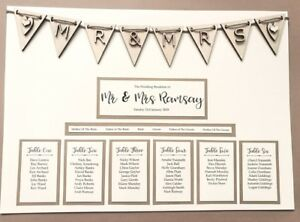 Image Is Loading A3 Rustic Wooden Bunting Design Wedding Table Plan
